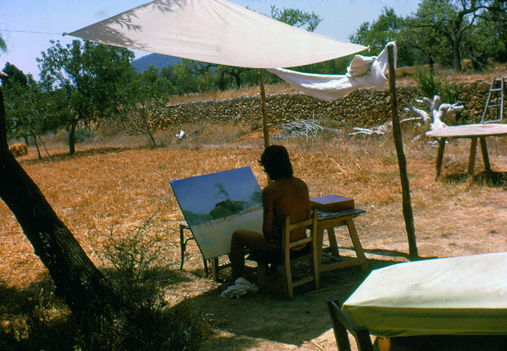 Salvador painting in Ibiza 1970