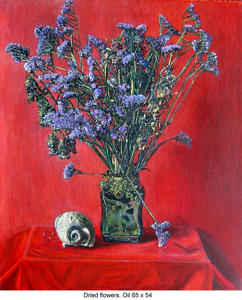 8. dried flowers on red-65x54 cm